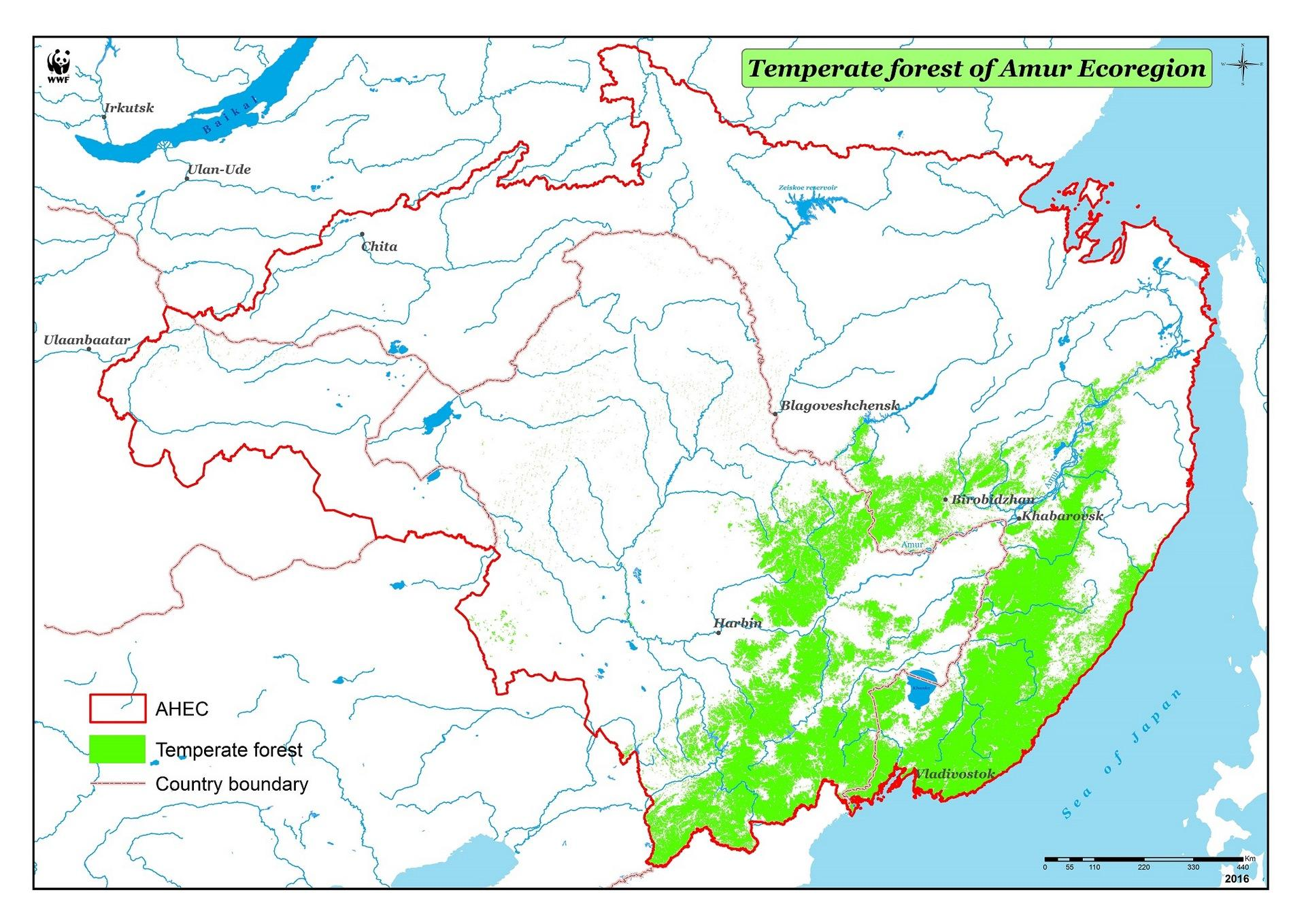Map of the temperate forests biom (AHEC)