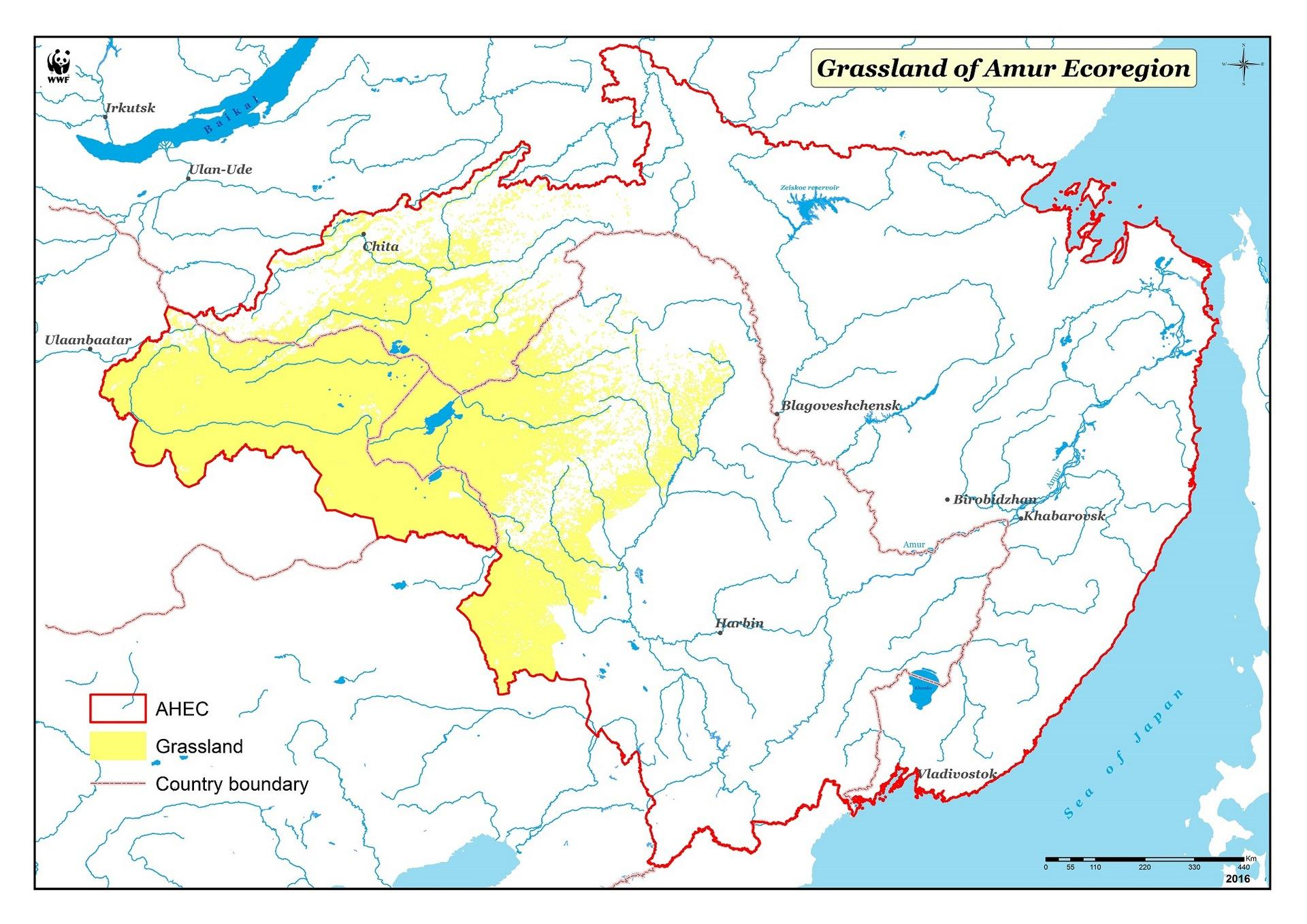 Map of the steppe (grassland) biom (AHEC)